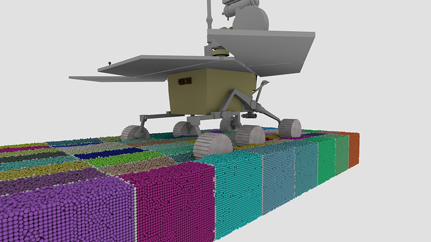 Two million rigid body rover simulation using MPI